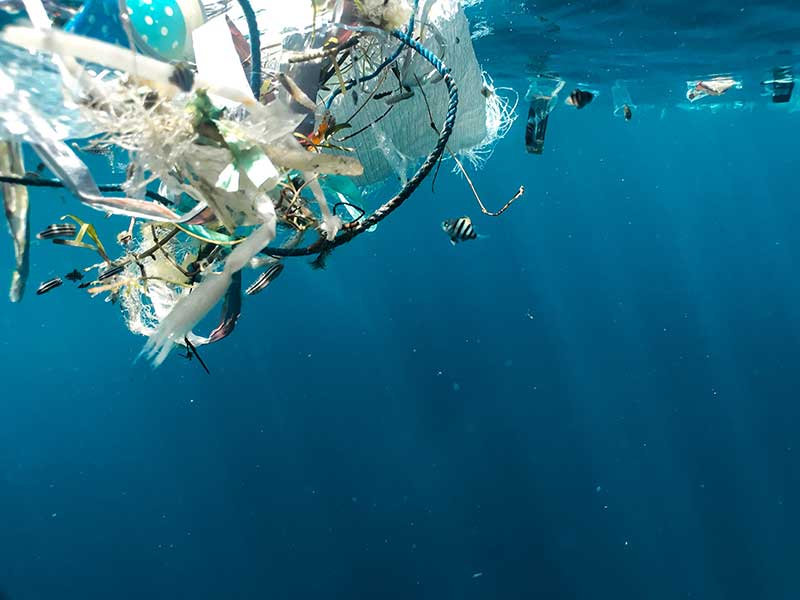 Non-recycled plastic in California ocean