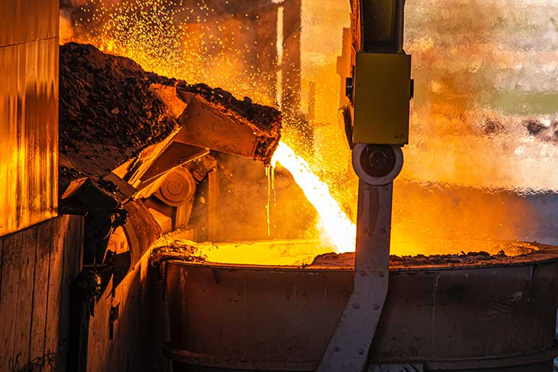 Scrap aluminum being melted at foundry