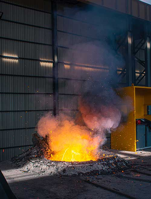Scrap aluminum melted at foundry in Los Angeles, CA