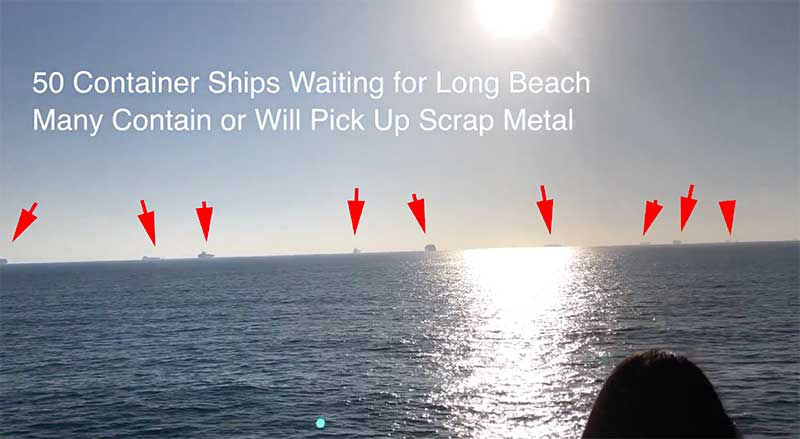 Scrap metal ships backup up outside Los Angeles